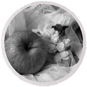 Round Beach Towel featuring the photograph Apple by Rachel Mirror