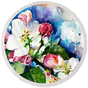 Apple Tree Blossom - Flowers Made In Watercolor Technique On Heavy Paper Round Beach Towel