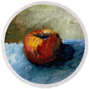Apple With Olive And Grey Round Beach Towel by Michelle Calkins