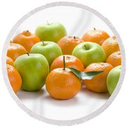 Round Beach Towel featuring the photograph Apples And Oranges by Lee Avison