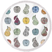 Apples And Pears Round Beach Towel by Sarah Hough