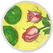 Apples And Roses Round Beach Towel