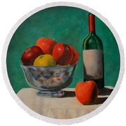 Apples And Wine Round Beach Towel