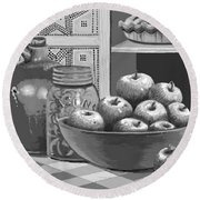 Round Beach Towel featuring the digital art Apples Four Ways by Carol Jacobs