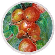Round Beach Towel featuring the painting Apples by Jasna Dragun