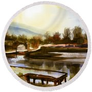 Round Beach Towel featuring the painting Approaching Dusk IIb by Kip DeVore