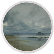 Approaching Storm - Morro Rock Round Beach Towel