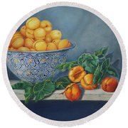 Apricots And Peaches Round Beach Towel