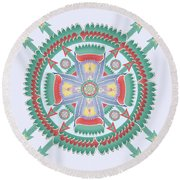 Aqua And Melon Totem Mandala Round Beach Towel