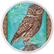 Aqua Barn Owl Round Beach Towel