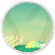 Round Beach Towel featuring the digital art Aqua Sky With Umbrellas by Valerie Reeves