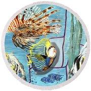 Round Beach Towel featuring the painting Aquarium by Daniel Janda