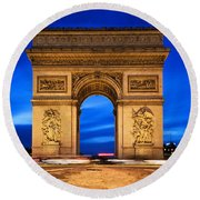 Arc De Triomphe At Night Paris France  Round Beach Towel
