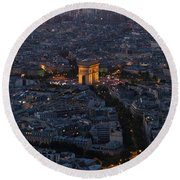Round Beach Towel featuring the photograph Arc De Triomphe From Above by Maj Seda