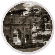 Arch Of Contantine Round Beach Towel