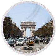 Arch Of Triumph In Paris Round Beach Towel