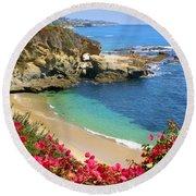 Arch Rock And Beach Laguna Round Beach Towel