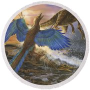 Archaeopteryx Defending Its Prey Round Beach Towel