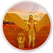 Archangel Ariel Round Beach Towel