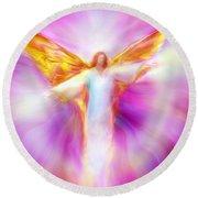 Archangel Sandalphon In Flight Round Beach Towel
