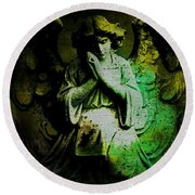 Archangel Uriel Round Beach Towel by Absinthe Art By Michelle LeAnn Scott