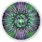 Archangels Gather Mandala Round Beach Towel