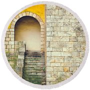 Round Beach Towel featuring the photograph Arched Entrance by Silvia Ganora