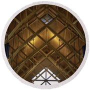 Arched Trusses - University Of Florida Chapel On Lake Alice Round Beach Towel by Lynn Palmer