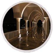 Arches In Abu Dhabi Round Beach Towel by Debi Demetrion