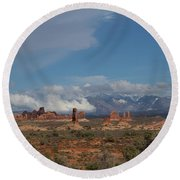 Arches National Monument Utah Round Beach Towel