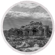 Arches National Park Bw Round Beach Towel