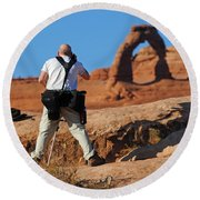 Round Beach Towel featuring the photograph Arches Np 27 by Jeff Brunton