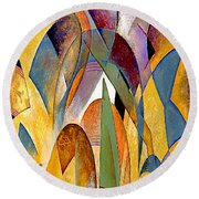 Round Beach Towel featuring the mixed media Arches by Rafael Salazar