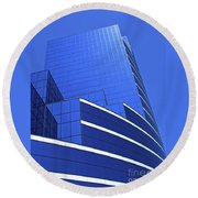 Architectural Blues Round Beach Towel