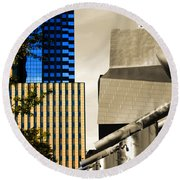 Architectural Crumpled Steel Gehry Round Beach Towel