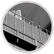 Architectural Lines Black White Round Beach Towel