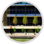Architectural Pattern Trees Round Beach Towel