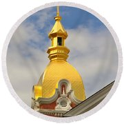 Architecture - Golden Cross Round Beach Towel by Liane Wright