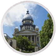 Illinois State Capitol  - Luther Fine Art Round Beach Towel