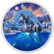 Arctic Harmony Round Beach Towel by Chris Heitt