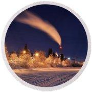Arctic Power At Night Round Beach Towel by Gary Whitton