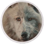 Arctic Wolf Round Beach Towel by Cherise Foster