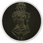 Round Beach Towel featuring the drawing Ardhanarishvara I by Michele Myers