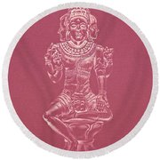 Round Beach Towel featuring the drawing Ardhanarishvara II by Michele Myers