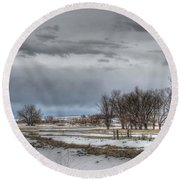 Round Beach Towel featuring the photograph Ardmore Prairie by Bill Gabbert
