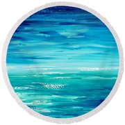 Round Beach Towel featuring the painting Are We There Yet? by Tatiana Iliina