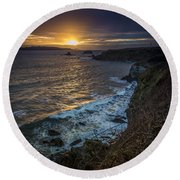 Ares Estuary Mouth Galicia Spain Round Beach Towel