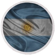 Argentinian Flag Waving On Canvas Round Beach Towel