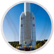 Ariane 5 French Space Rocket At Cite De Round Beach Towel