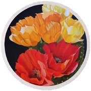 Arizona Blossoms - Prickly Pear Round Beach Towel